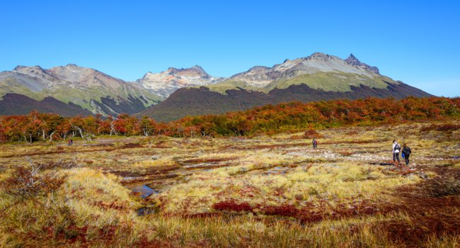 Аргентина. Ланшафты Огненной Земли. Gorgeous landscape of Patagonia's Tierra del Fuego National Park in Autumn. Фото neurobite - Depositphotos