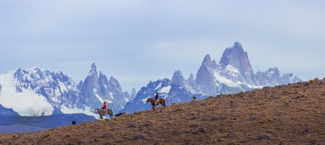 Клуб путешествий Павла Аксенова. Патагония. Gaucho riding against the background of Mount Fitz Roy, Patagonia, Argentina. Фото sunsinger - Depositphotos