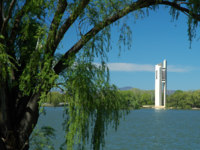 Famous white Carillion in Canberra, trees in foreground. Фото rorem - Depositphotos