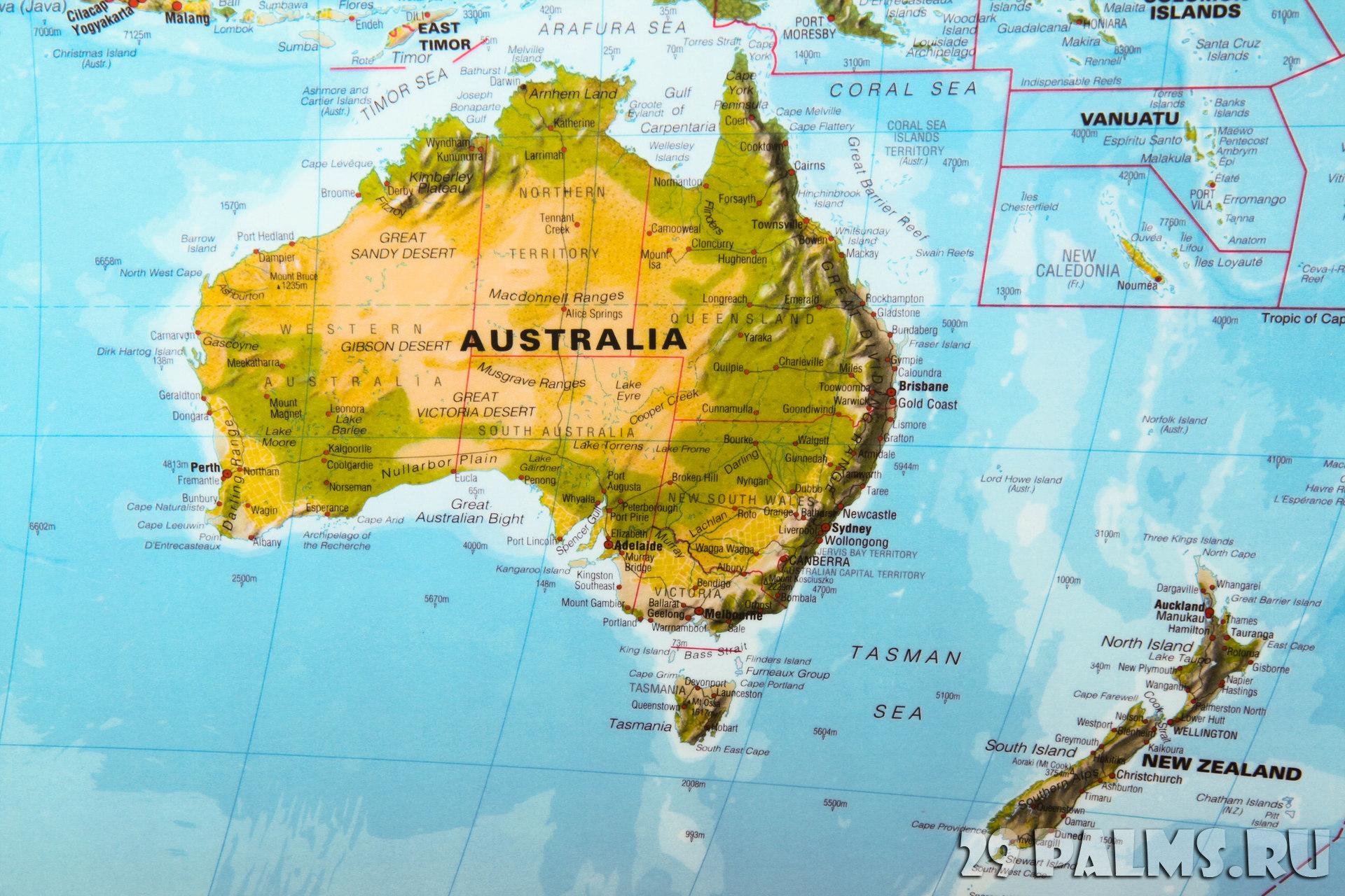Где находятся австралия на карте