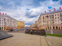 Белоруссия. Город-герой Минск. Independence Avenue prospect Nezavisimosti, close to Victory Square in the center of Minsk, Belarus. Фото pxhidalgo - Depositphotos