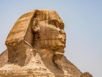 Египет. Пирамиды Гизы. Egyptian Great Sphinx full body portrait head. Egypt