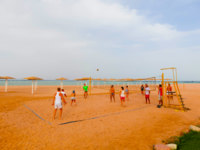 Египет. Синай. Шарм-эль-Шейх. Sharm El Sheikh, Egypt Tourists play volleyball at the hotel bar on the beach. Фото Marina113 - Depositphotos