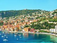 Лазурный берег Франции. Вильфранш. View of luxury resort and bay on sunny day. Villefranche-sur-Mer, Cote d'Azur, France. Фото Liliana Fichter - Depositphotos