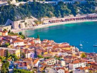 Лазурный берег Франции. Вильфранш. Villefranche sur Mer idyllic French riviera town aerial bay view, Alpes-Maritimes region of France. Фото xbrchx - Depositphotos