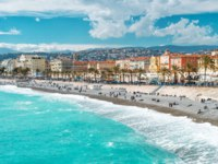 Лазурный берег Франции. Панорама Ниццы. View of Nice city, Promenade des Anglais, French riviera, Mediterranean sea, Cote dAzur. Фото LiliGraphie-Deposit