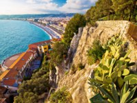 City of Nice Promenade des Anglais waterfront aerial view, French riviera, Alpes Maritimes department of France. Фото xbrchx - Depositphotos