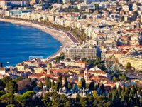 City of Nice and Promenade des Anglais waterfront aerial view, French riviera, Alpes Maritimes department of France. Фото xbrchx - Depositphotos