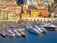 City of Nice colorful waterfront and yachting harbor aerial view, French riviera, Alpes Maritimes department of France. Фото xbrchx - Depositphotos