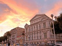 The southern facade of the Opera de Nice located on rue saint francois de paule in the colours of sunset. Фото efesenko - Depositphotos