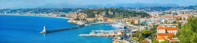 Panoramic view of coastline and Nice city. French riviera, France. Фото Bareta - Depositphotos