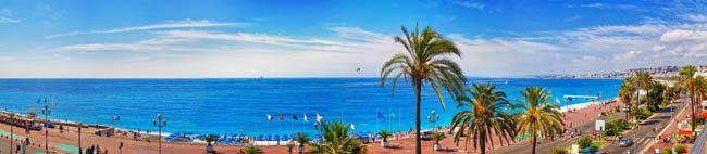 Panoramic view of coastline and Nice city. French riviera, France. Фото erix2005 - Depositphotos