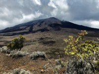 Заморские территории Франции. Остров Реюньон. View on piton de la fournaise la reunion with old lava flows. Фото neofelizz-Depositphotos
