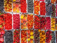 Грузия. Старый Тбилиси. The fruit stalls of Tbilisi offer wide range of tasty fruits and berries - tasty raspberries, red currants, cherries. Фото efesenko - Depositpho