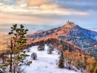 Германия. Баден-Вюртемберг. Замок Гогенцоллерн. Winter view of Hohenzollern Castle, Germany. Фото Leonid_Andronov - Depositphotos