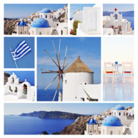 Клуб путешествий Павла Аксенова. Греция. Остров Санторини. Collage of Santorini (Greece) images. Фото Fine Shine - Depositphotos