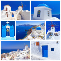 Клуб путешествий Павла Аксенова. Греция. Остров Санторини. Collage of Santorini island images. Фото Mustang_79 - Depositphotos