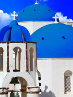 Клуб путешествий Павла Аксенова. Греция. Остров Санторини. Blue churches domes Santorini. Фото  Maugli - Depositphotos