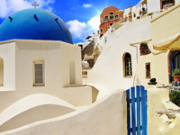 Клуб путешествий Павла Аксенова. Греция. Остров Санторини. Beautiful white-blue Santorini. Фото Maugli - Depositphotos