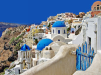 Клуб путешествий Павла Аксенова. Греция. Остров Санторини.Beautiful white-blue Santorini. Фото Maugli - Depositphotos