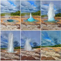 Клуб путешествий Павла Аксенова. Исландия. Card memory. Gushing geyser Strokkur. Action of the geyser. Фото kavramm - Depositphotos