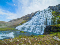 Dynjandi is the most famous and beautiful waterfall of the West Fjords in Iceland. Фото mac_sim - Depositphotos