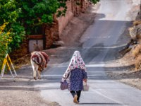 Иран. Деревня Абьяни. Iranian woman walks on a road in Abyaneh village, one of the oldest human settlements in Iran. Фото fotokon-Depositphotos
