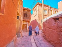 Иран. Деревня Абьяни. The senior couple in traditional Abyanaki clothes walks along the narrow ascent among the red adobe houses, Abyaneh, Iran. Фото efesenko-Dep