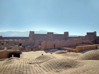Rayen Castle is an adobe castle 100 kilometers south of Kerman province, Iran. It is situated on the skirts of the mountain Hezar. Фото crobackpacker - Depositphotos