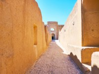 Иран. Крепость Раен. The walk along the narrow street of adobe Arg-e Rayen - medieval deserted fortress in Kerman Province, Iran. Фото efesenko - Depositphotos