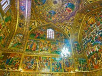 Иран. Исфахан. Ванкский собор. The picturesque interior of Holy Savior Cathedral-walls and domes are covered in Isfahan. Фото efesenko-Depositphotos