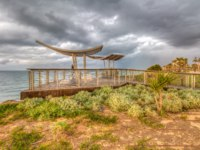 Израиль. Ашкелон. Panoramic viewing platform over the sea, HDR image (Mediterranean Sea, Israel). Фото a2plug-Depositphotos