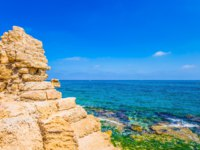 Израиль. Археологический парк Кесария. Ruins of the ancient city and port of Caesarea. Spring day in Israel. Concept of archeological tourism. Фото kavramm-Depo