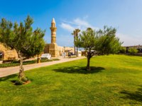 Израиль. Археологический парк Кесария. Ruins of the ancient port of Caesarea. Israel. The restored minaret is surrounded decorative acacias. Фото kavramm-Deposit