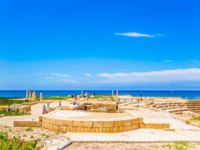 Remains of the ancient city of King Herod on Mediterranean coast. Concept of archeological tourism. The scenic part of Caesarea National Park. Фото kavramm-Deposit