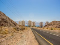 Израиль. Дорога к Эйлату. Middle East outdoor scenic place highway transportation infrastructure object go to entrance of Eilat Israel city. Фото ArtemKnyaz - Depos