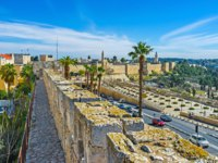 Израиль. Панорама Иерусалима. The way on the ramparts' top stratches from Jaffa to Herod's Gates and it's the choice to enjoy Jerusalem. Фото efesenko-Deposit