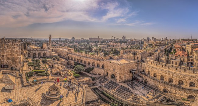 Клуб Павла Аксенова. Израиль. Панорама Иерусалима. Panoramic view of the Tower of David fortress in the old City of Jerusalem, Israel. Фото RPBMedia-Deposit