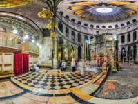 Израиль. Иерусалим. Храм Гроба Господня. Panorama of the interior of the central part of the Church of the Holy Sepulcher. Фото makarenko - Depositphotos