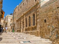 Израиль. Иерусалим. Старый город. Ancient streets and buildings in the old city of Jerusalem. Israel. Staircase street in Jerusalem. Фото dbajurin - Depositphotos