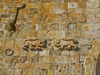 The carvings on the Lions' Gate with two leopards on each side of the entrance to the old town of Jerusalem, Israel. Фото efesenko - Depositphotos