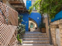 Израиль. Цфат. A quiet street in the early morning in the Jewish Quarter in the old town of Safed. Фото svarshik1.gmail.com-Depositphotos