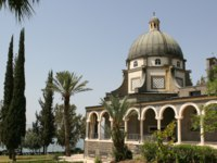 The Church Of The Beatitudes was built on a hill overlooking the Sea of Galilee and is the accepted site where Jesus preachФото Steven Frame-Depositphotos