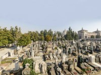 View of one of the graveyard fields at large monumental Cemetery in town, shot in bright late winter light in Milan, Lombardy, Italy. Фото halpand-Depositphotos