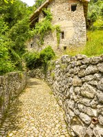 Озеро Комо. Narrow path with stone walls either side on the route of a walking trail along part of Lake Come - the Greenway del Lago di Como. Фото CeriBreeze-D