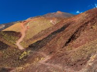 Италия. Сицилия. Катания. Beautiful valley between giant red-brown lava hills. Mount Etna, Sicily, Italy. Фото RS.photography - Depositphotos