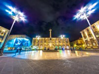 Италия. Сицилия. Катания. The illuminated buildings on the Main Square at night in Catania. Фото Spectral - Depositphotos