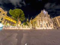 Италия. Сицилия. Катания. The Main Square with the Cathedral at night in Catania, Italy. Фото Spectral - Depositphotos