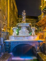 Италия. Сицилия. Катания. Night view of the Amenano fountain in Catania, Sicily, Italy. Фото Dudlajzov - Depositphotos