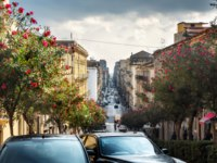 Италия. Сицилия. Катания. Cityscape with beautiful flowering trees, buildings and street traffic. Catania, Sicily, Italy. Фото Bareta - Depositphotos